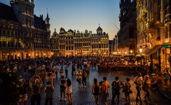 Square by night in Brussels, Belgium.